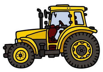Yellow tractor / Hand drawing, not a real model