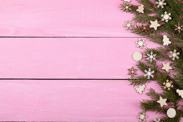 Christmas decoration on a pink background for your text