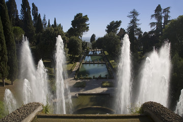 Villa d'Este garden and fountains in Tivoli near Rome, Italy, Europe, commissioned and built by Cardinal Ippolito d'Este, the son of Lucrezia Borgia and the grandson of Pope Alexander V