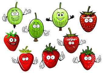 Cartoon strawberry and gooseberry fruits