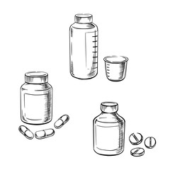 Bottles with pills, capsules and cough syrup
