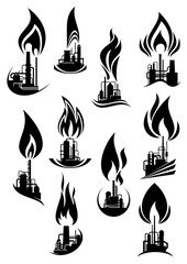 Oil and gas factories black icons