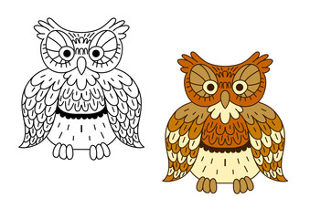 Cartoon outline brown owl bird