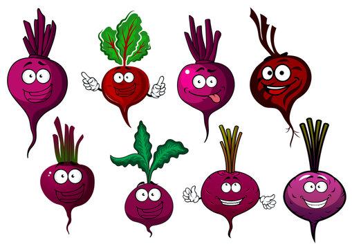 Сartoon isolated purple beet vegetables