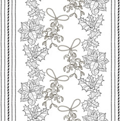 Seamless pattern with  poinsettia flowers,mistletoe and holly. Monochrome vector background.