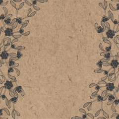 Floral background with mistletoe on kraft paper. Can be greeting card, invitation, design element