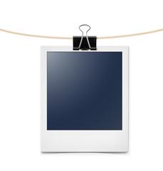 Photo frame on rope. Vector illustration