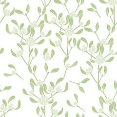 Seamless vector pattern with mistletoe.