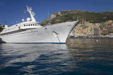 Yacht and seaside view of Monte-Carlo, the Principality of Monaco, Western Europe on the Mediterranean Sea