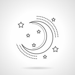 Moon and stars flat line vector icon