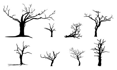 Old Dead Dried Tree Isolated Silhouette Set