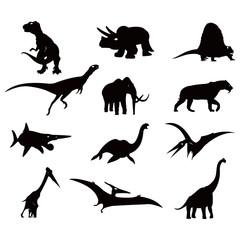 Big Antiquity Dinosaur Silhouette Illustration Set