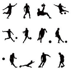 Soccer Football Player Vector Silhouette Set