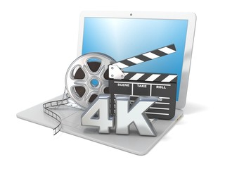 Laptop with film reels, movie clapper board and 4K video icon. 3D render illustration isolated on white background