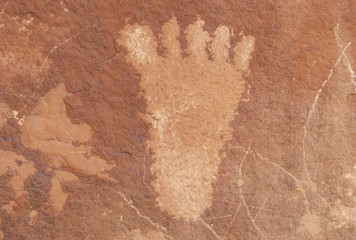 Petroglyph of a human foot from Atlati Rock, NV