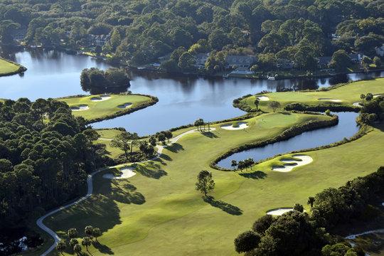 Aerial Shot of Golf Course on Hilton Head