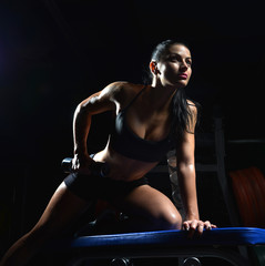 Young sport fitness fit woman lifting dumbbells workout in gym