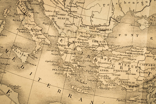 アンティークの世界地図 ギリシャ