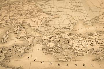 アンティークの世界地図 地中海沿岸