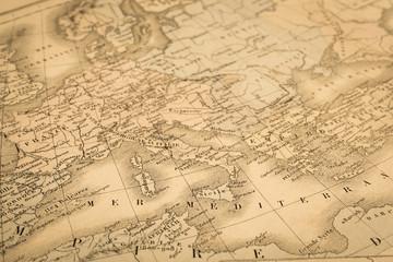 アンティークの世界地図 地中海沿岸地域