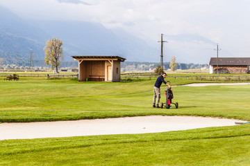 Near a golf sand bunker