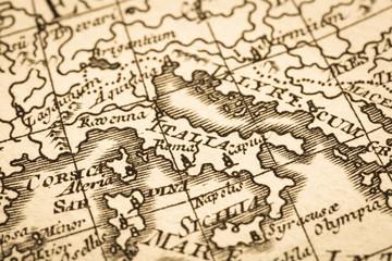 アンティークの世界地図 地中海地域