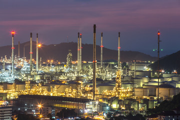 Factories, refineries, petrochemical plants, petroleum evening.