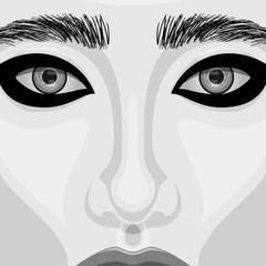 Retro Woman Portrait with Beautiful Eyes