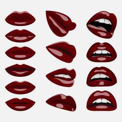 Set of glossy dark red Lips
