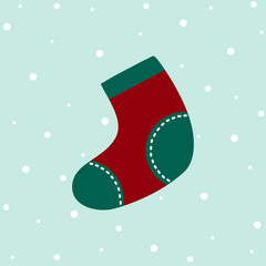 Cute Christmas Sock in flat design