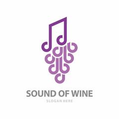 Sound of Wine Icon Logo. Grape Fruit icon logo