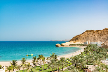 Omani Coast Landscape in Muscat, Oman. It is located east of Muscat.