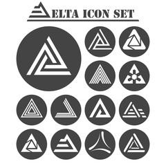Delta letter icons set