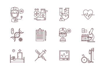 Medical icons, thin line style, flat design
