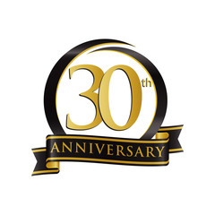 Anniversary Logo Black Gold 30