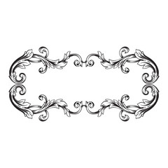 Vintage baroque frame scroll ornament engraving border floral retro pattern antique style acanthus foliage swirl decorative design element filigree calligraphy vector | damask
