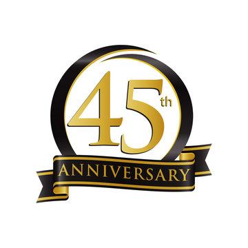 Anniversary Logo Black Gold 45