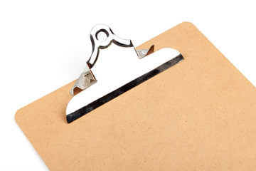 Empty clip board with metal clip