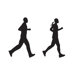 Silhouette of running people, couple. Man and woman.