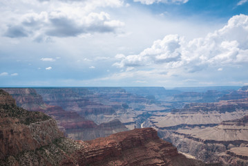 The Grand Canyon south rim in Arizona on a cloudy day