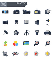 Vector flat photo icons set. Camera Function and Photography. Photo Icon Object, Photo  Icon Picture, Photo Icon Image