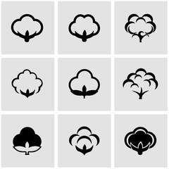 Vector black cotton icon set. Cotton Icon Object,  Cotton  Icon Picture,  Cotton Icon Image