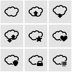 Vector black cloud icon set. Cloud Icon Object,  Cloud  Icon Picture, Cloud Icon Image