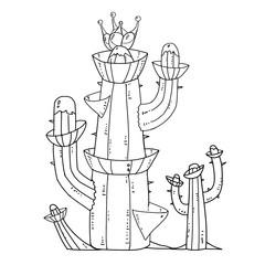 Exotic Plants Set - No.9 - Cactus Tower - Outline