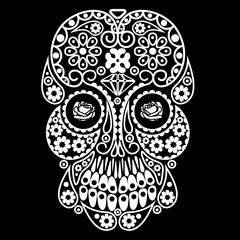 Day of the dead skull. Dia de los muertos illustration.