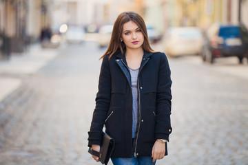 Fashionable stylish girl Outdoors, lifestyle