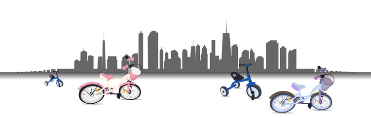 Riding a Bike in the City. Vector Illustration.