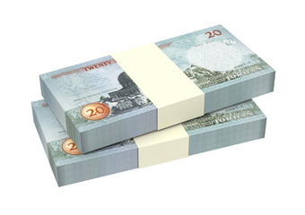 Jordan dinars bills isolated on white background. Computer generated 3D photo rendering.