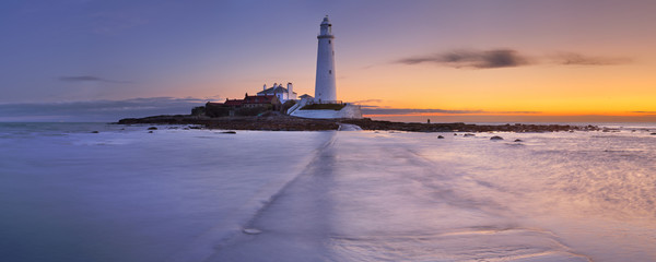 Sunrise over St. Mary's Lighthouse, Whitley Bay, England