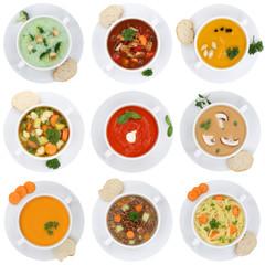 Collage Suppe Suppen Tomatensuppe Gemüse Gemüsesuppe Freistell